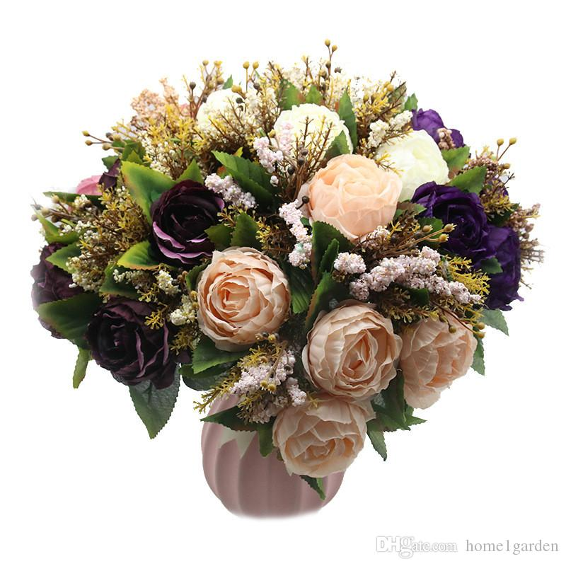High Quality Artificial Silk Flower Bouquet Fall Vivid Peony With 5