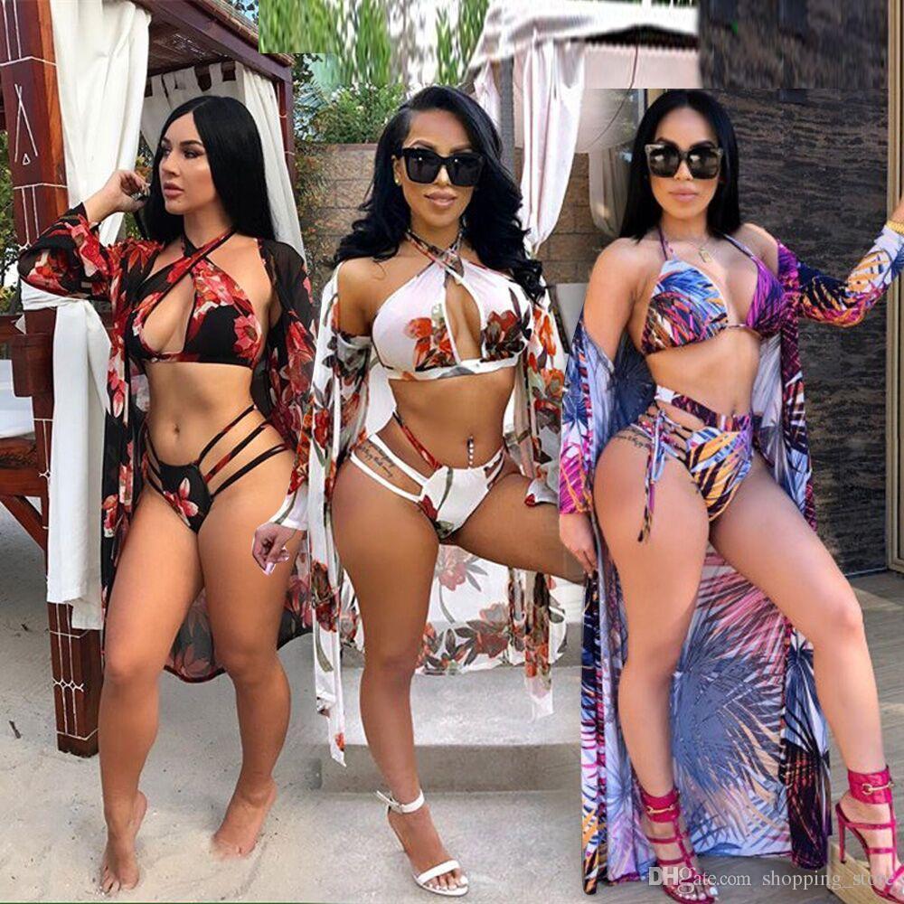 d25fb21c Compre 2018 Summer Seaside Bikini De Cintura Alta + Long Beach Cover Up  Shorts Leaf Print Sexy Trajes De Baño Para Mujer Traje De Baño Brasileño A  $21.11 ...