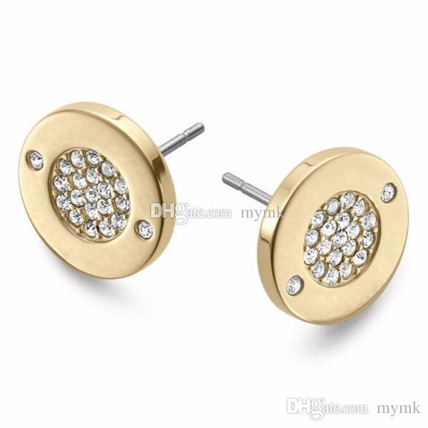 New York Fashion Pave Tone Stud Earrings High quality crystal round Earings fashion brand Wedding jewelry for women girls