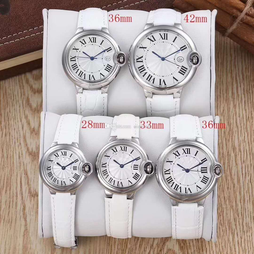Luxury Brand Name Couple Watch Leather Strap Stainless Steel Dial Automatic Date Men Women Waterproof Quartz Watch