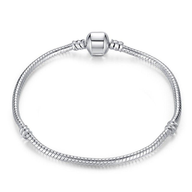 New Fashion Love Snake Chain Silver Color Fit Original Charm Bracelet Bangle Charm Bead For Women Gift 17CM-21CM
