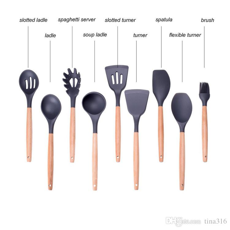 New Wood Handle Silicone Cooking Utensils For Kitchen Slotted Turner Spatula Spoon Ladle Spaghetti Tools Cooking Sets T1I040