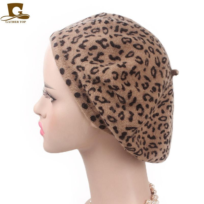 5e4c765b3c7b2 2019 New Fashion EleLeopard Warm Wool Spring Autumn Winter Beret Women  French Artist Beanie Beret Hat For Women Hat From Hongshaor