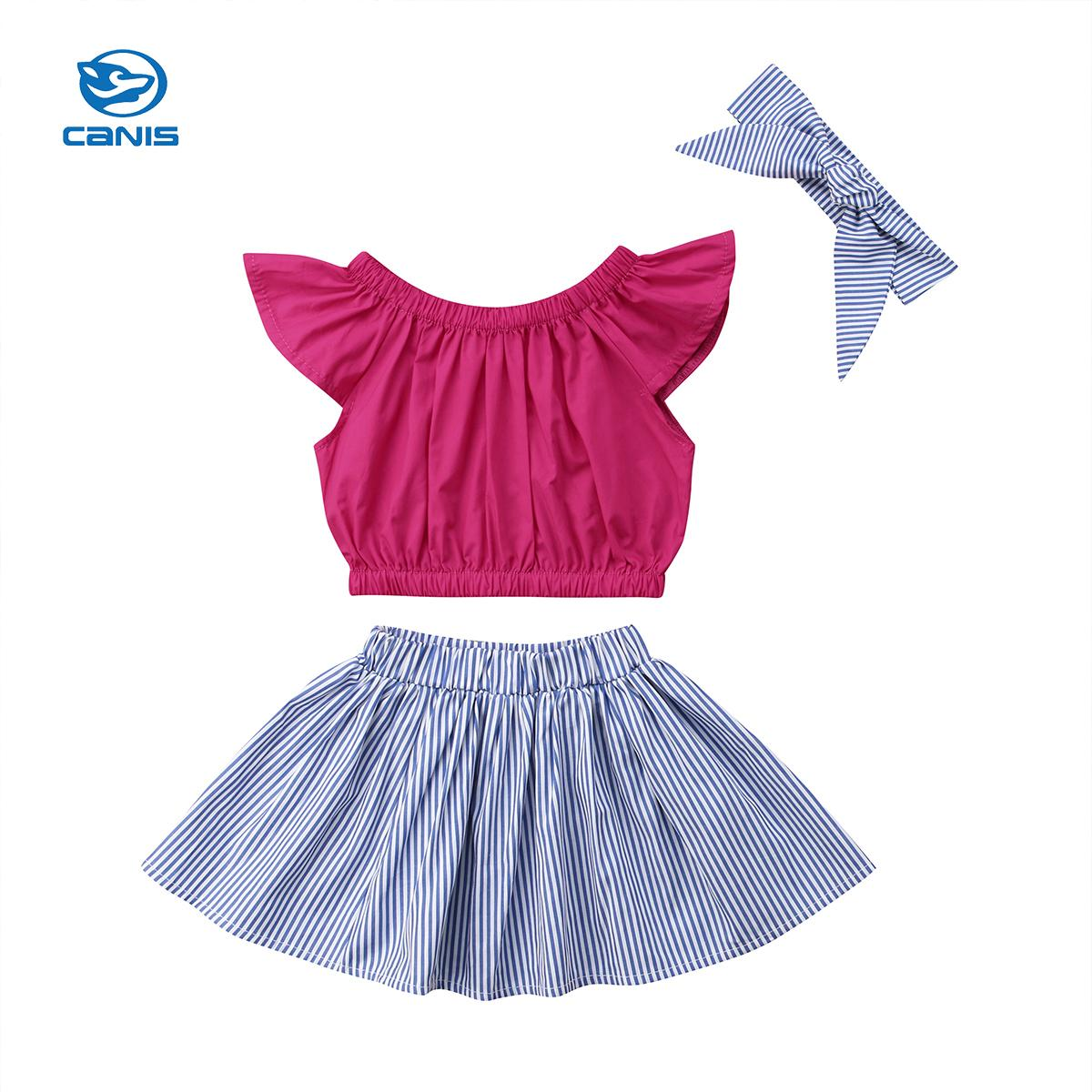 f81ab6df9d47 2019 Newborn Baby Clothes Set Kids Baby Girls Clothes Flying Sleeve T Shirt  Tops+Tutu Striped Skirt Summer Children Sets 0 5Y From Localking