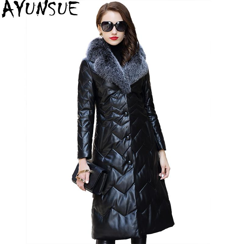 f641894853 2019 AYUNSUE Genuine Leather Jacket Long Slim Real Sheepskin Coat Female  Warm Winter Down Coats With Natural Fox Fur Collar WYQ1832 From Qingchung,  ...