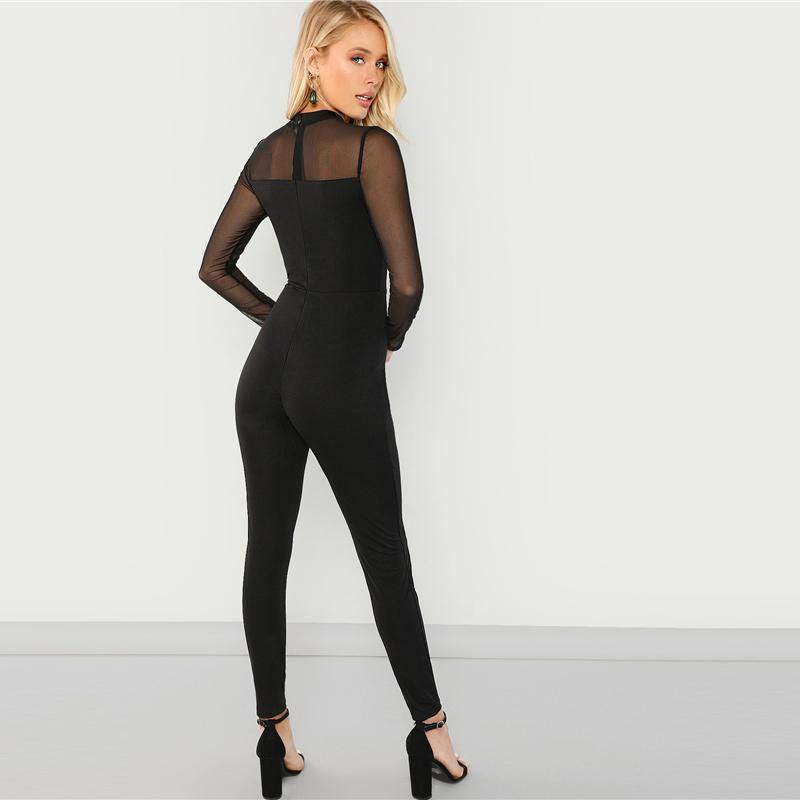 SHEIN Black Mesh Contrast Skinny Jumpsuit Sexy Round Neck Plain Jumpsuits Party Women Long Sleeve Autumn Minimalist Jumpsuit