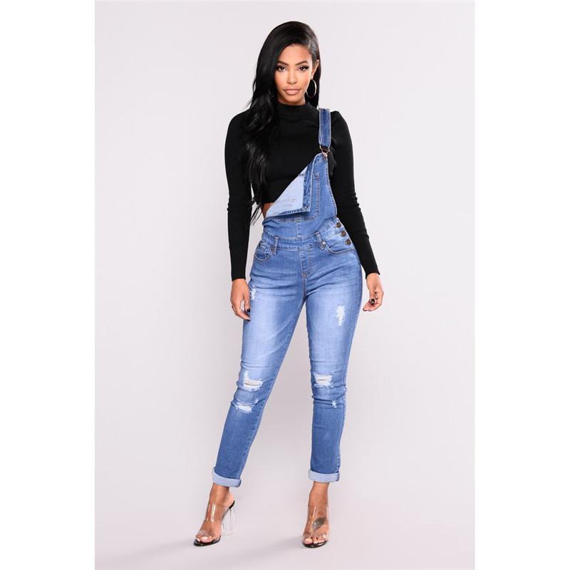 1b803eaca Compre Novas Mulheres Rasgado Denim Jeans Buraco Longo Macacão Magro Jeans  Feminino Casual Jardineira Cintura Alta Lápis Calças Stretch Plus Size  Zíper ...