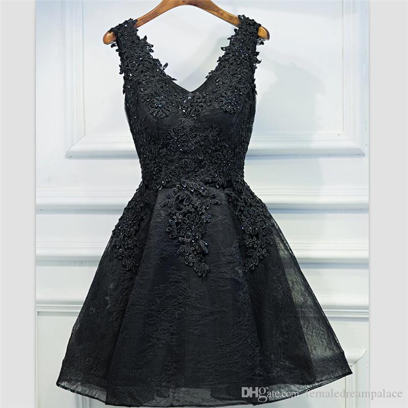 ac950614e59 2018 Sexy Black Organza Bridesmaid Dresses Custom Short Lace Up Junior  Formal Gowns Beades Lace Girls Homecoming Gowns