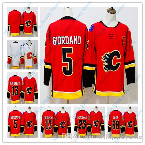 official photos 72651 480e6 Calgary Flames Hockey Jerseys 5 Mark Giordano 13 Johnny Gaudreau 23 Sean  Monahan 68 Jaromir Jagr Jersey Red White BLANK