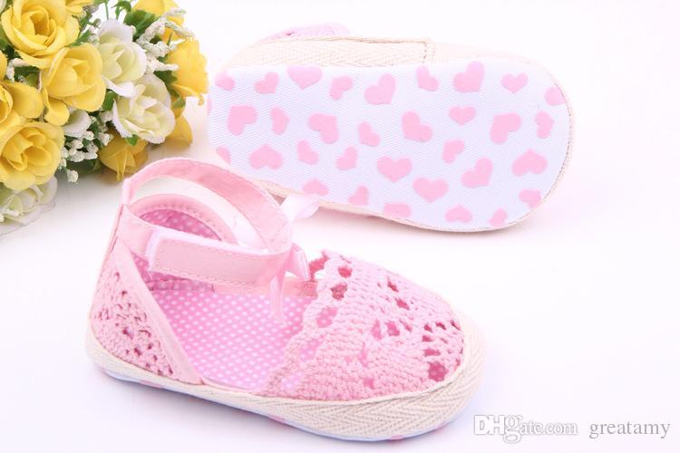 Милый младенцы новорожденный Девочка лето обувь младенческой малыша девушки трикотажные мягкой подошвой анти-слип кроватки обувь принцесса