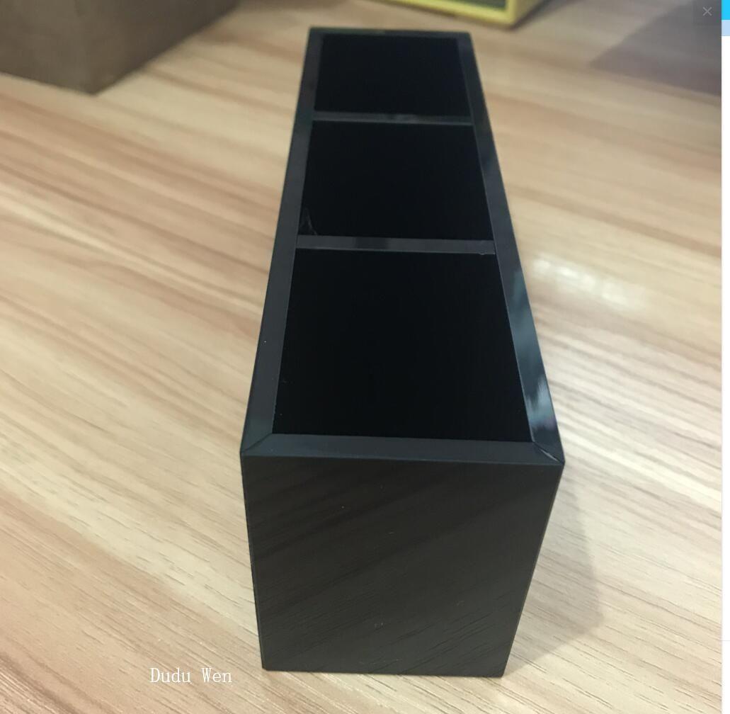 Luxus Mode 3 Gitter schwarz Acryl Lagerung Lippenstift Halter Make-up Pinsel Aufbewahrungskoffer Schmuck Veranstalter mit Box Zähler Geschenk für VIP