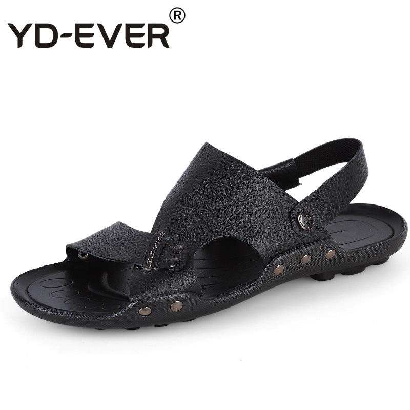 a3228fa69eb0 YD EVER Genuine Leather Men Sandals Handmade Summer Fashion Brand Beach Slippers  Casual Moccasin Handmade Soft Loafers 005 Silver Shoes Mens Sandals From ...