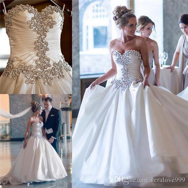 Graceful Crystals Beaded Wedding Dresses Sweetheart Ruffles Lace Up Back A Line Bridal Gowns Plus Size Wedding Dresses