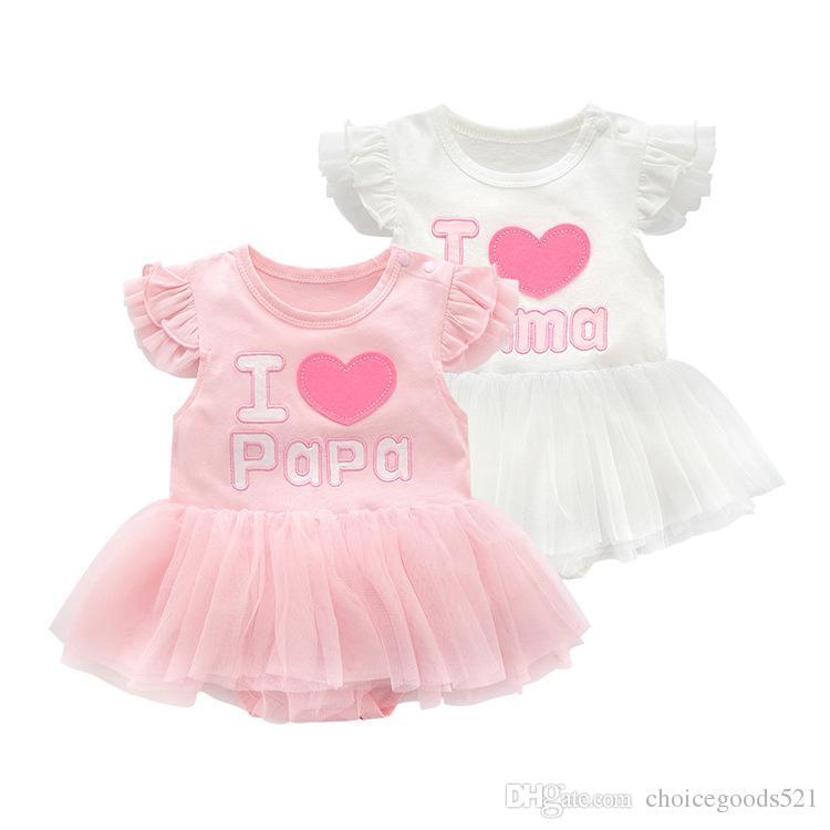 15a312c32 2019 Baby Girl Clothes Tutu Romper I Love Mama I Love Papa Baby ...