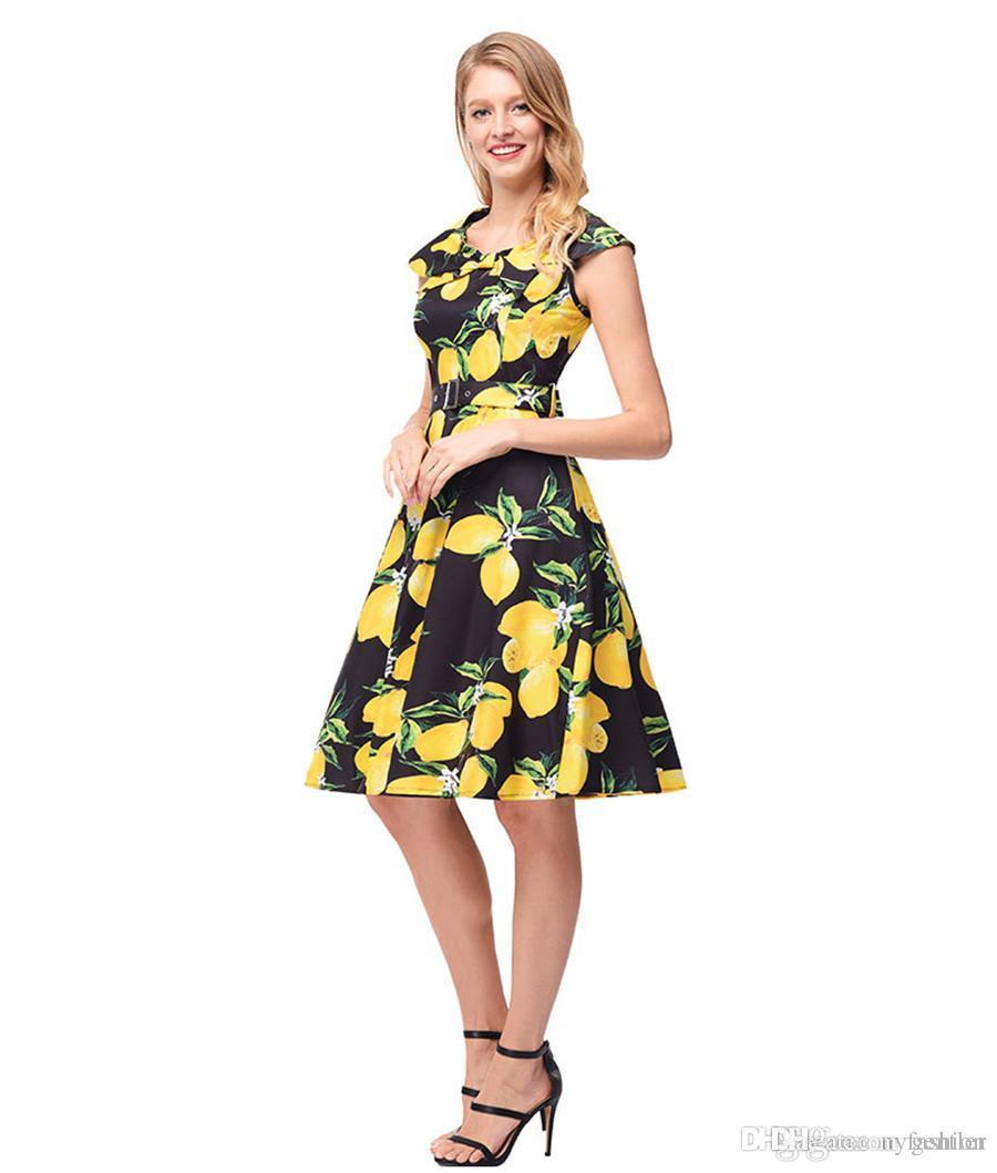 f2d5795054ba2 Women Floral Summer Dresses 2017 Audrey Hepburn Sleeveless Beach Print  Girls Dress Vintage Swing Women Dresses HY-009