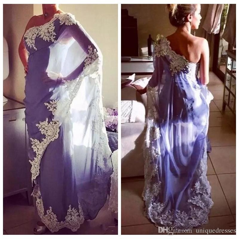 2018 elegante One Shoulder Ägypten marokkanischen Kaftan Abendkleider Abaya Dubai muslimische formale Party Kleider mit Spitzenapplikationen