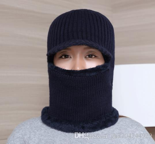064dcc06123c6 2019 Autumn And Winter Knitted Wool Sleeve Cap Board Masked Couple Hat Plus  Velvet Thickened Male And Female Ear Collar Hat From Ghx704744929