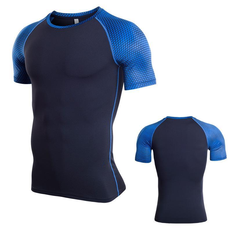 0be909832dc9 2018 cuello redondo Gimnasio Ropa deportiva para hombres Traje de fitness  Mallas Tenis Soccer Jerseys Running gym Hombres Camiseta Sport