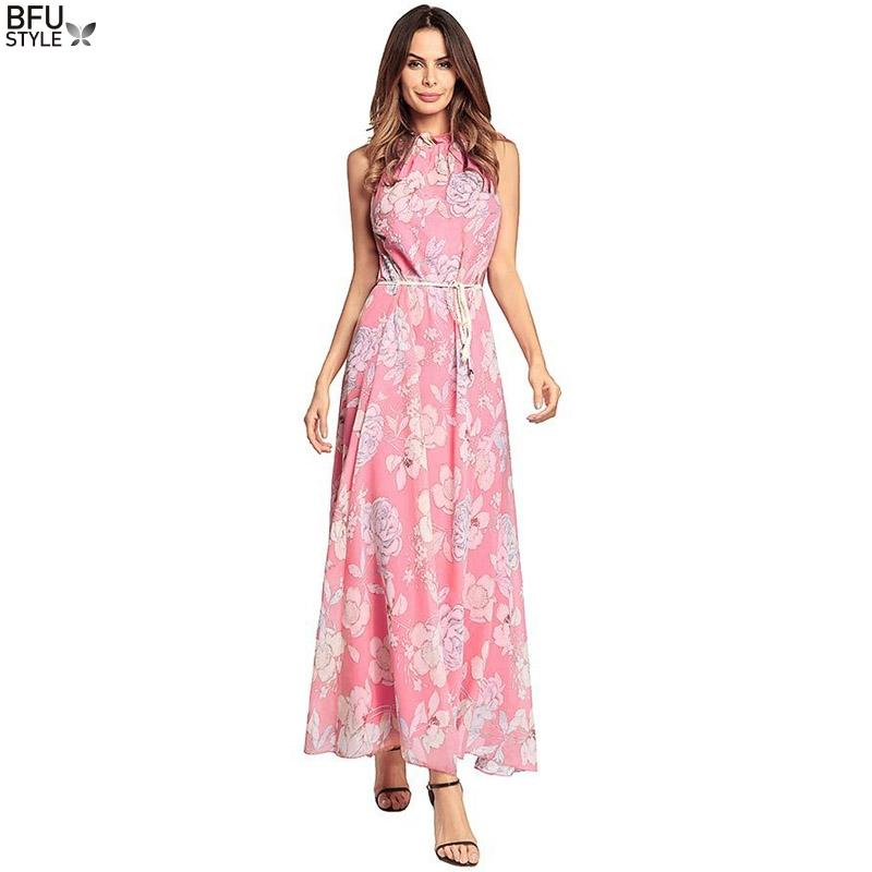a109c054628d1 2018 New Casual Summer Sexy Maxi Women Evening Party Dress Vintage Long  Beach Boho Chiffon Dresses Vestido De Festa Longo