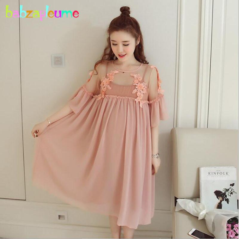 2795634006e07 Summer Women Clothes For Pregnant Fashion Chiffon Lace Maternity Dresses+T-shirt  Big Size Pregnancy Party Dress Elegant BC1752-1