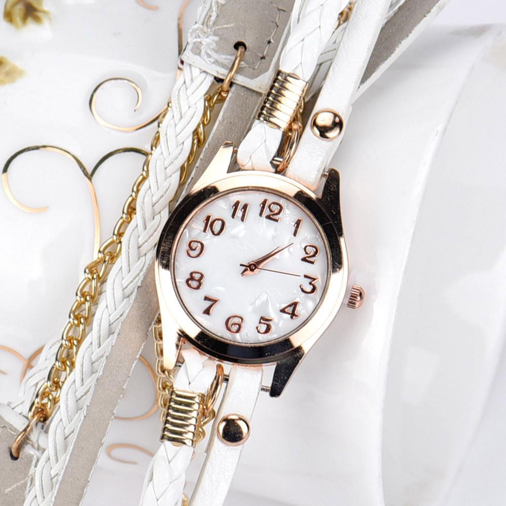 71c60517008 Acheter Marque Femmes Bracelet Montres Bracelet En Cuir Tressé Enroulement  Rivet Bracelet Montres Montre Montre Montre Femme Horloge Cadeaux  PLPY De   34.74 ...