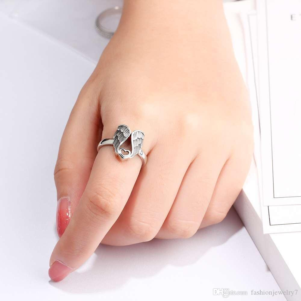 Vintage 925 Sterling Silver Thai Silver Feather Ring for Women Jewelry Gift Finger Rings