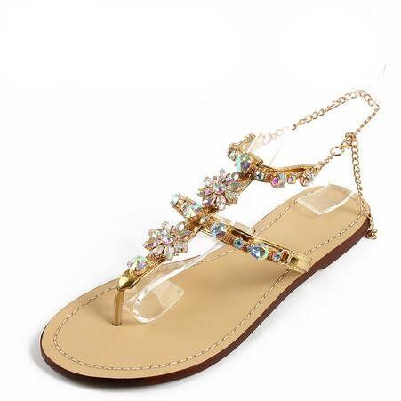 free shipping latest 2018 New Bohemian Women Sandals Crystal Flat Heel Sandalias Rhinestone Chain Women Shoes Thong Flip Flops Zapatos Mujer discount eastbay IGVNY