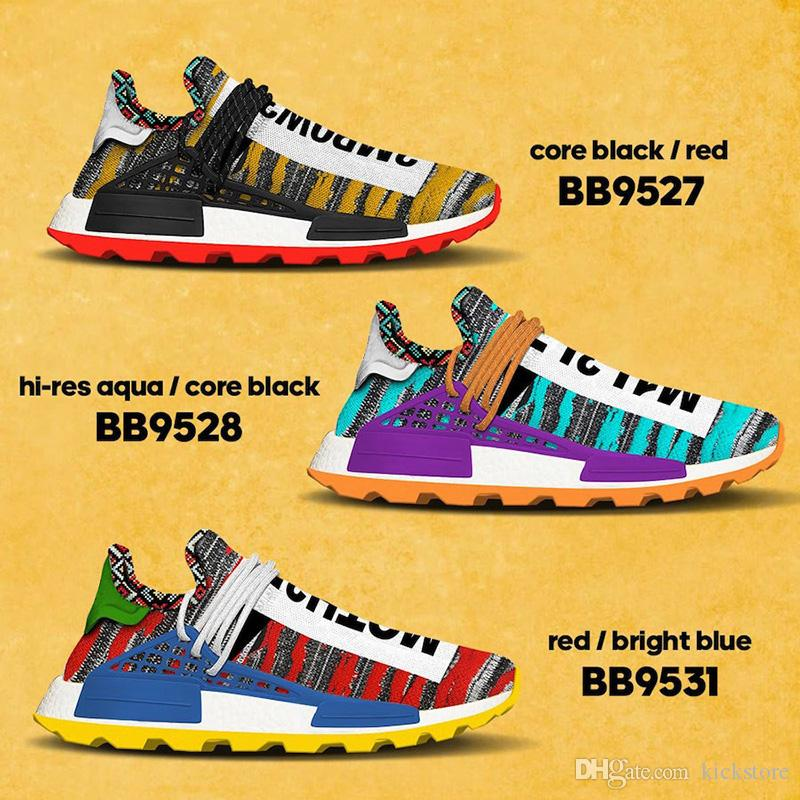 689500b485342 2018 Creme X NERD Solar Pack Human Race Running Shoes Pharrell Williams  Afro Hu Trail Homecoming Core Black Trainers Mens Women Sneakers Black  Running Shoes ...