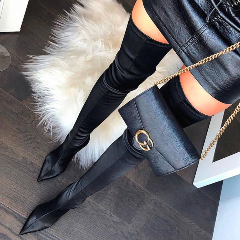 a36ce3b18c7 Sexy Stiletto High Heels Shoes Woman Stretch Satin Over Knee High Women  Boots Pointed Toe Botas Mujer New Thigh Martin Boot