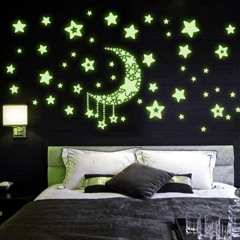 3d luminous moon star night sky wall stickers glow in the dark