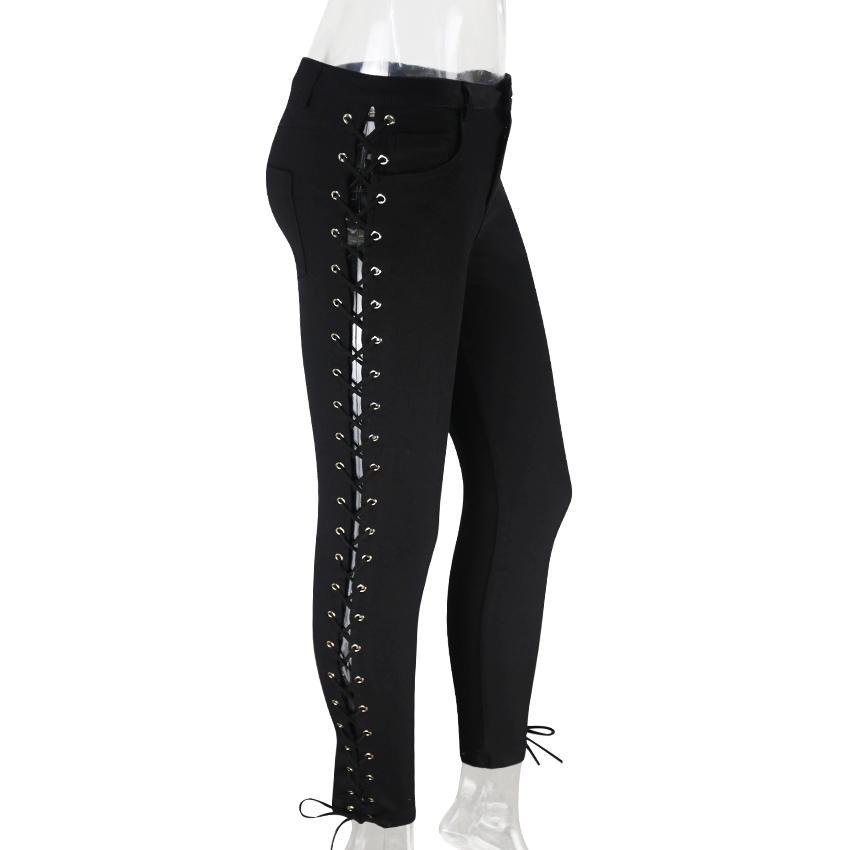 2103764eec96 Acquista 2017 Donne Nuovi Pantaloni Laterali Con Lacci Jeans Con Elastico  In Cotone Con Elastico Pantaloni Di Jeans A Forma Di Cava A $29.15 Dal  Buxue ...