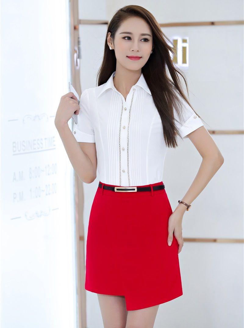 455a0e9a2 Compre Verano Formal Conjunto De Dos Piezas Mujeres Trajes De Desgaste De  Trabajo Con Falda Y Top Sets Office Ladies Blusas Blancas Camisas De Manga  Corta A ...