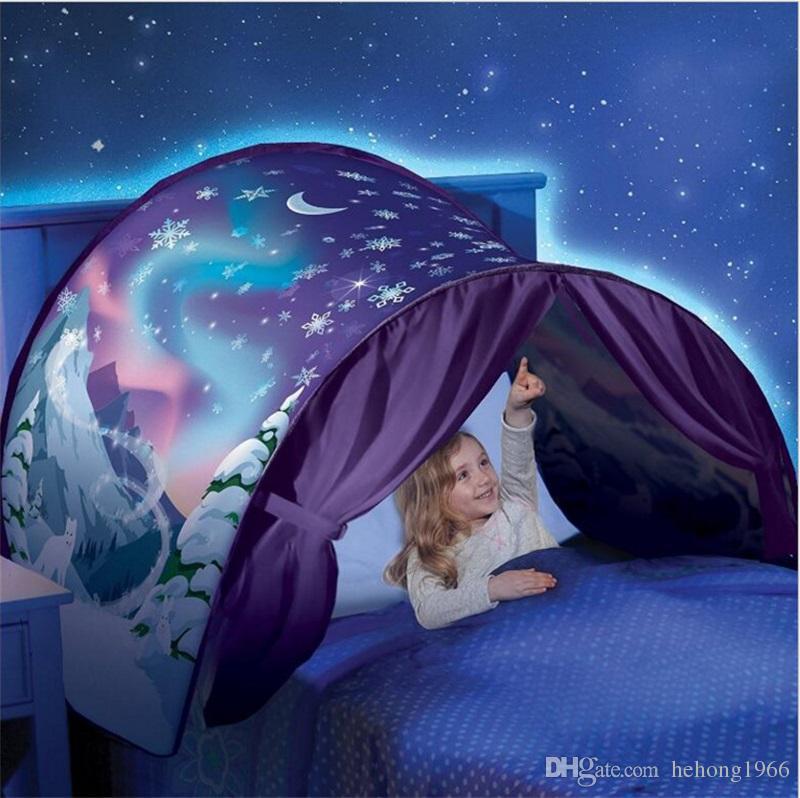 Baby-Traumzelt-Fantasie-faltbarer Einhorn-Mond-weißer kosmischer Raum-Antimoskitonetz-Zelt-Fantasie-Schlafen-Stütze schließen Nachtlicht 27hs Z mit ein