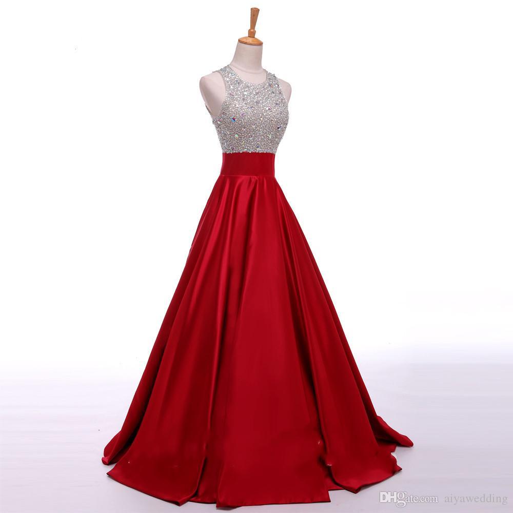 2019 de largo una línea Major Grano de cristal manchada Vestidos de noche Keyhold Volver Vestido De Festa Nuevos vestidos de baile