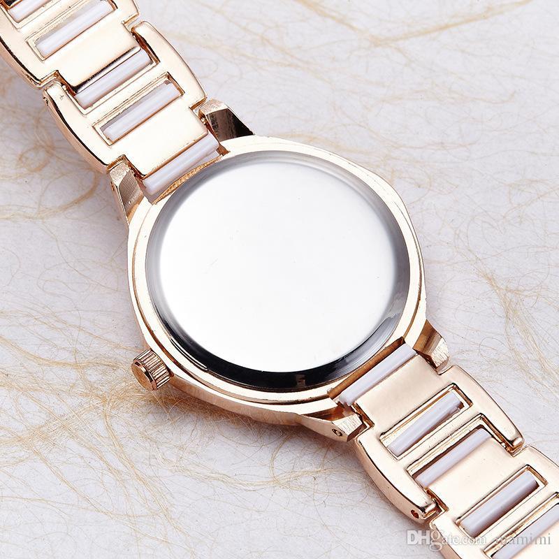 Reloj de pulsera de cerámica reloj de cuarzo de las señoras de moda delgado 44555