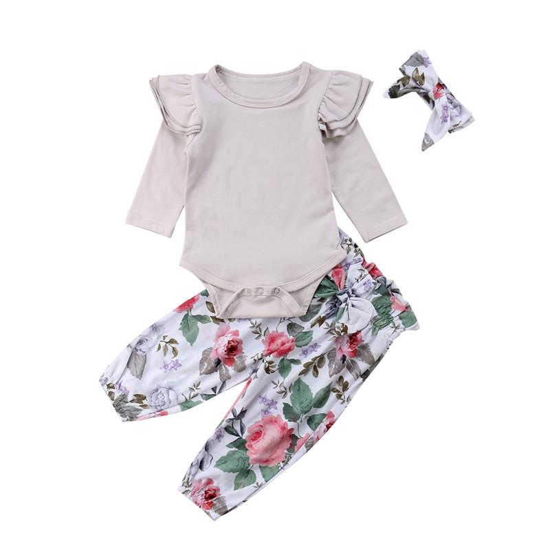 4cf39ff5c54 Set Newborn Baby Girl Grey Long Sleeve Clothes Ruffles Romper Tops+Floral  Pants+Headband Outfits 0 24M UK 2019 From Jasmineer