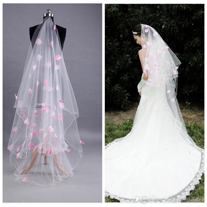 Лучшие продажи один белый тюль розовые лепестки аппликации длинные фата 3 м длинные дешевые формальные свадьба аксессуары для волос невесты фата