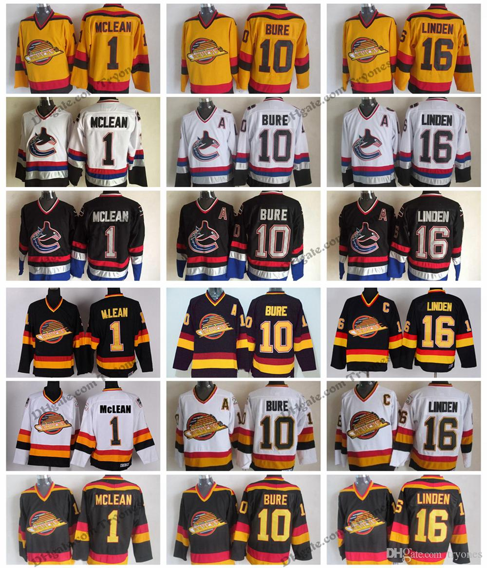 ef4bf682bdb 2019 Vintage Vancouver Canucks Hockey Jerseys Mens Cheap 16 Trevor Linden 1  Kirk Mclean 10 Pavel Bure Stitched Hockey Shirts M XXXL From Tryones, ...