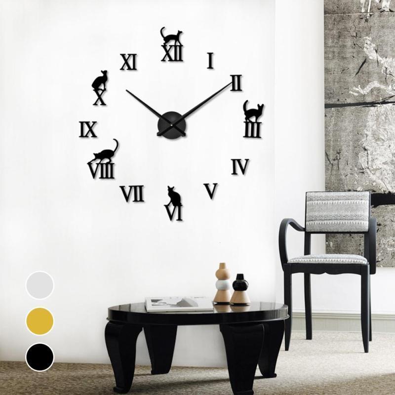 22484bf6fe080c Acheter Miroir 3D Horloges Murales DIY Chat Lettres Aiguille De Quartz Horloge  Murale Design Moderne Décoratif À La Maison Grande Montre Horloge S3 De   37.6 ...