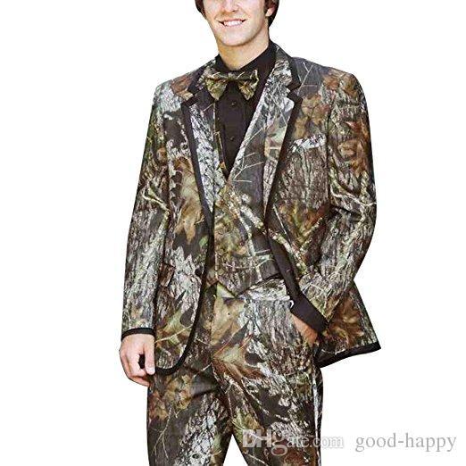 Nouveau Style Camouflage Marié Smokings Hommes Formelles Costumes Business Hommes Porter De Mariage Prom Dîner Costumes Veste + Pantalon + Cravate + Gilet NO; 626