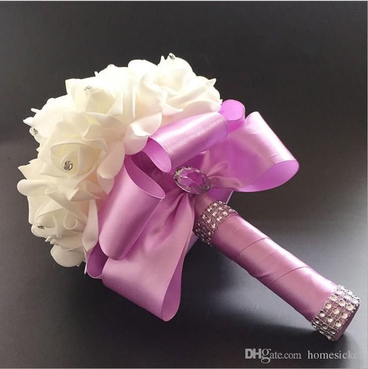2016 Elegant Rose Artificial Bridal Flowers Bride Bouquet Wedding Bouquet Crystal Royal Blue Silk Ribbon New Buque De Noiva