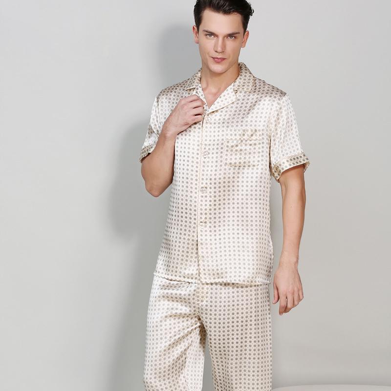 Simple Retro 100% genuine silk pajamas for men silk pajamas set short sleeves noble sexy mens sleepwear pijamas pyjama hombre