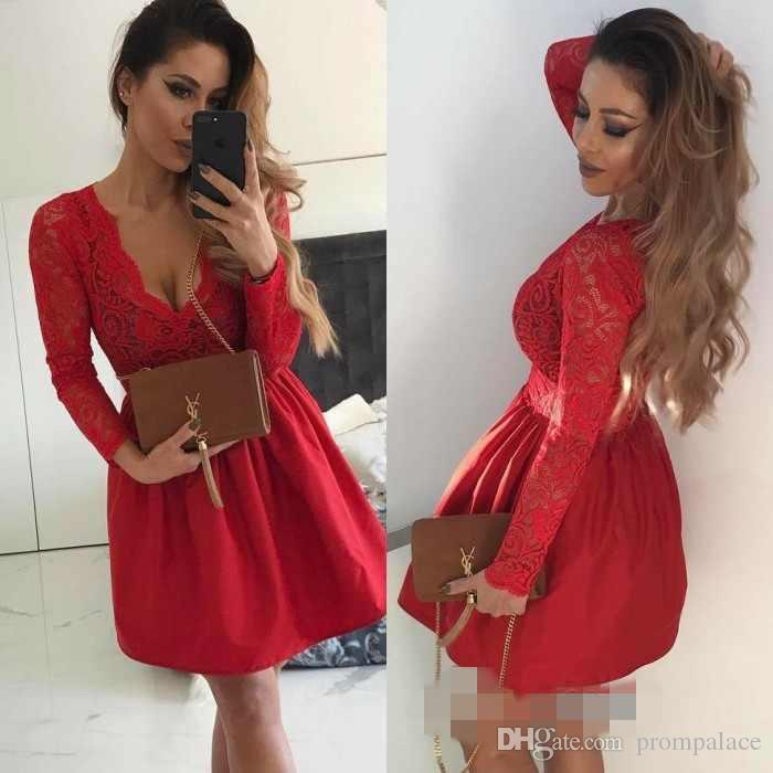 Sexy Deep V Neck Homecoming Dresses Red Lace Top Long Sleeves For Pretty  Lady Designed Prom Gowns Red Short Dresses Sale Clothing From Prompalace 29cf00cec