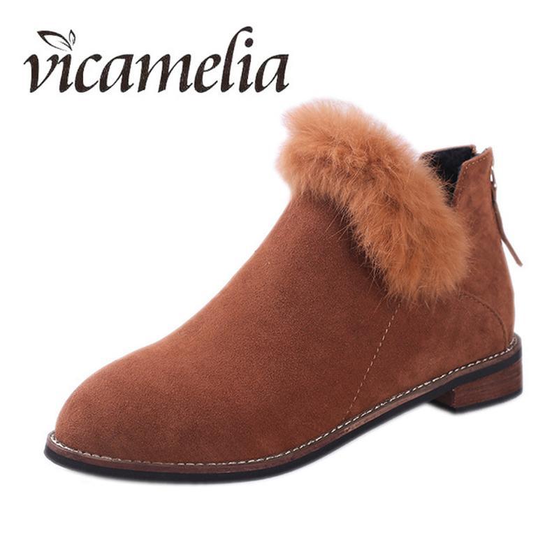 7185fa80c1e49 Vicamelia Women Ankle Boots Zipper Low Heels Female Faux Fur Block Heels V  Mouth Short Boot Woman Suede Boot Plus Size 35 44 194 Ladies Boots Cheap  Boots ...