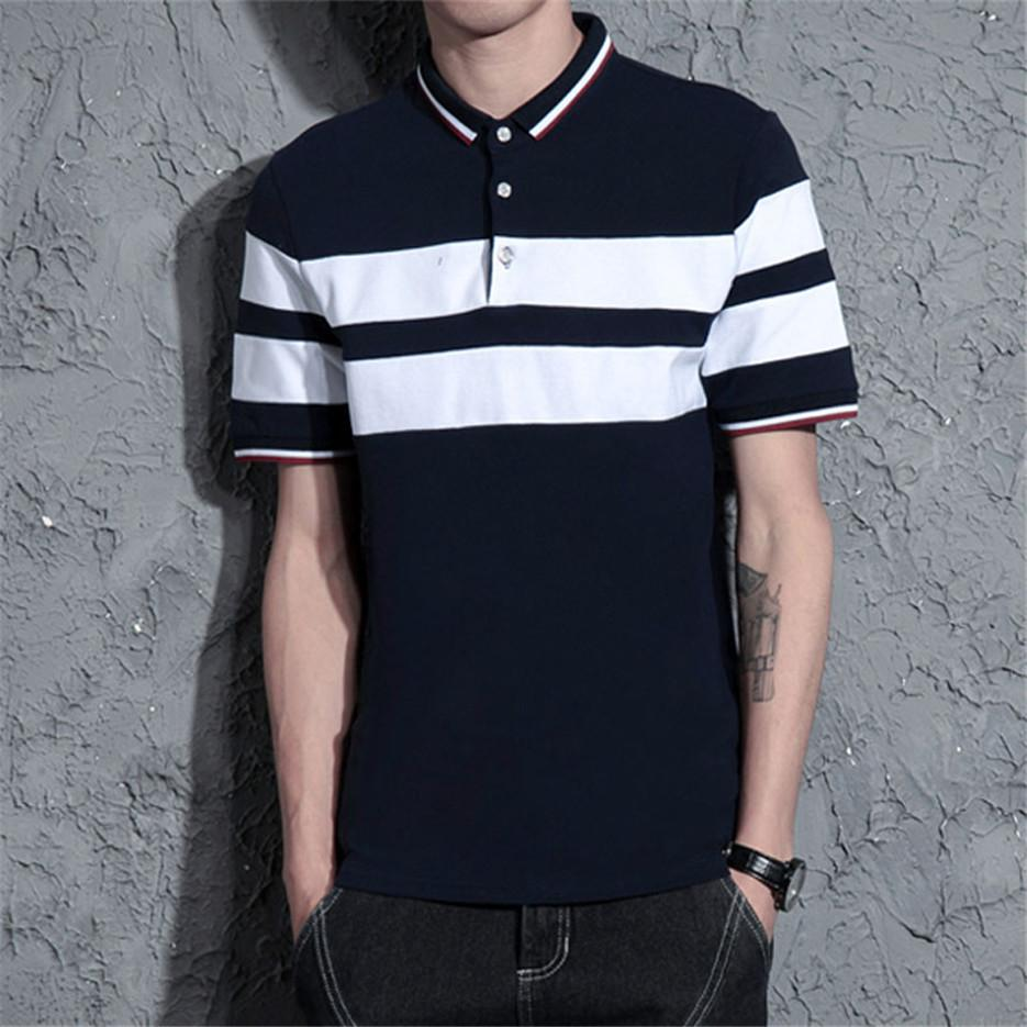 Stripe Polo Shirts Male Lapel Short-sleeved Youth Summer New Fat ... 4781a5a64244