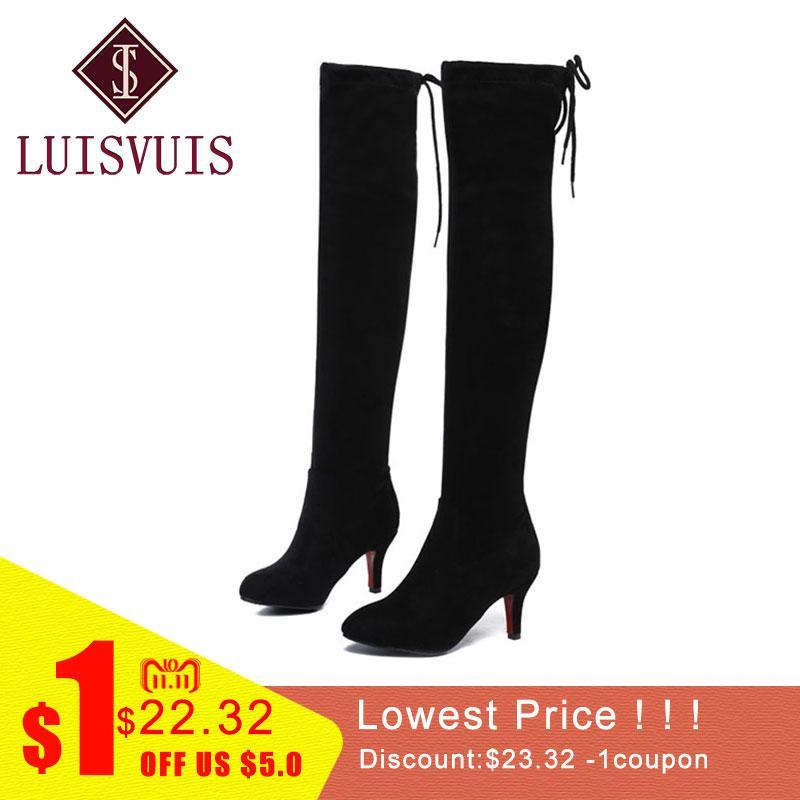 f6324c323b1 Compre LUISVUIS Mujer Botas De Tacón Alto Muslo Alto Sexy Señoras Zapatos Mujer  Invierno Cálido Zapatos De Piel De Felpa Madura Sobre Rodilla Botas Tamaño  ...