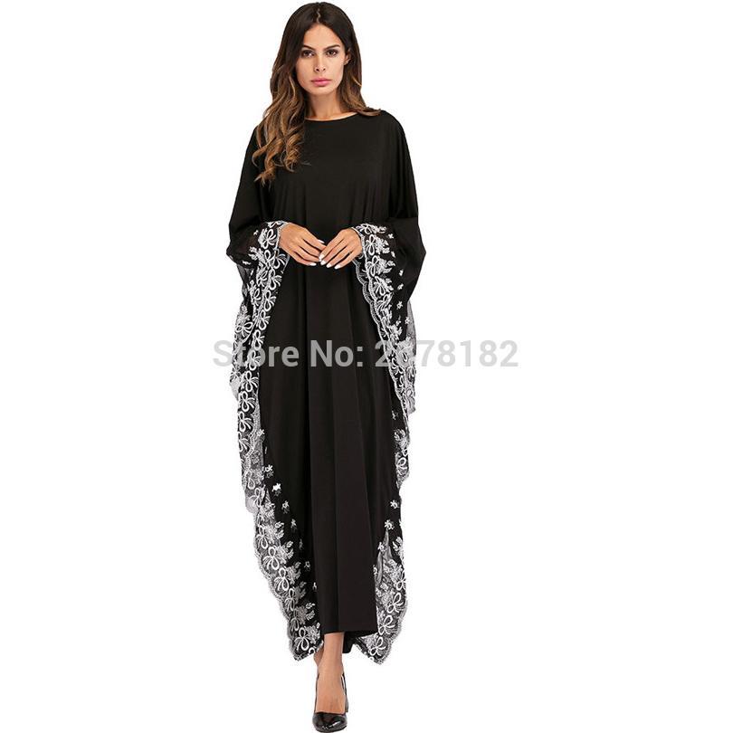 a1d2eddfe Compre Vestido De Gasa De Manga Larga Negro Anarkali Vestidos De Encaje  Decoración De Borde De Encaje Blanco