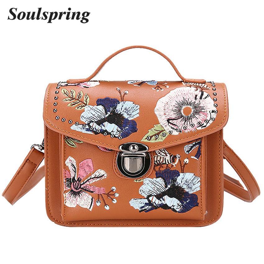 b87f4d64907 Fashion Floral Women Crossbody Bag Flap Embroidery Messenger Bag Brand  Ladies Leather Handbags Lock Tote Bags Sac A Main Vintage Luxury Bags Cross  Body Bags ...