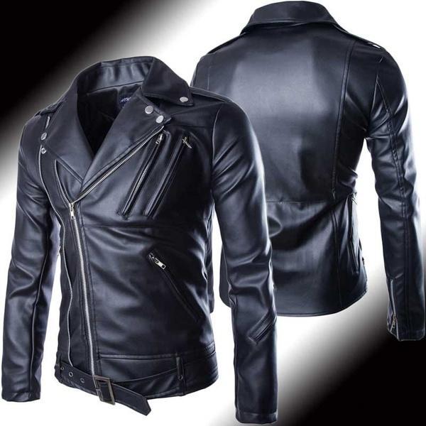 2019 Men Women Black Pu Leather Motorcycle Jacket Spring Autumn Mens