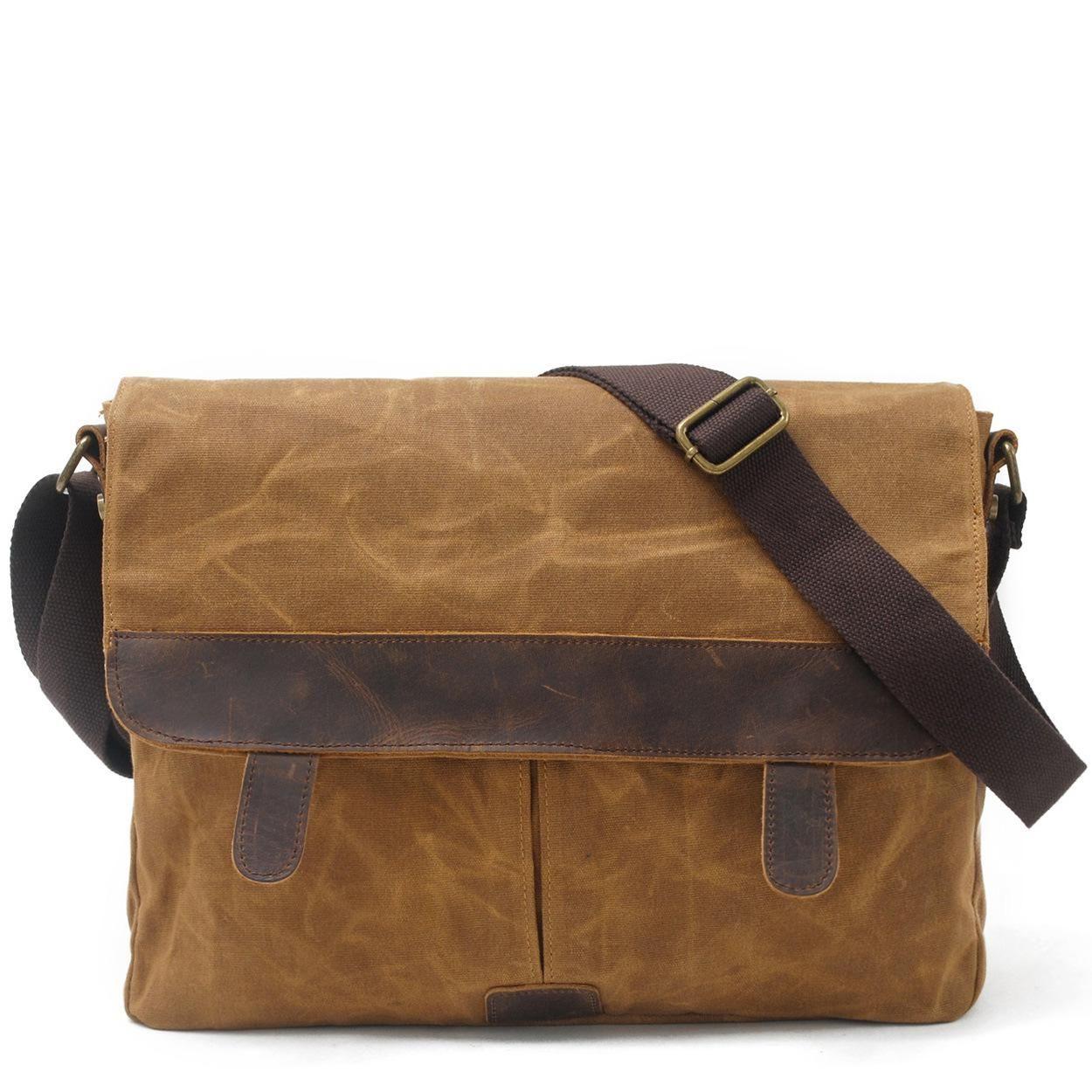 16600f64b5 Crazy Horse Genuine Leather Canvas Men Messenger Bag Casual Crossbody  Shoulder Bag Waterproof Vintage Male Travel Bags Fashion Messenger Bags For  Women ...